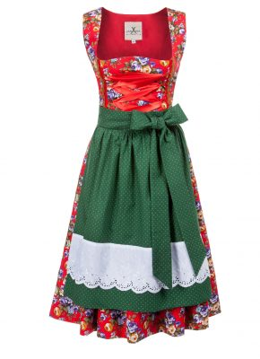 BW Dirndl flower bouqet rot_tanne