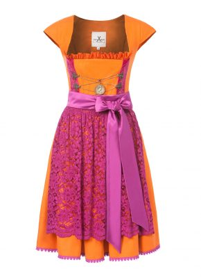 Dirndl Loden orange_fuchsia